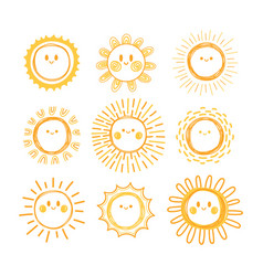 set of hand drawn sun symbols collection of vector image