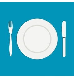 Knife and a fork near the empty plate on a white vector image vector image