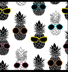 pineapples wearing colorful sunglasses vector image vector image