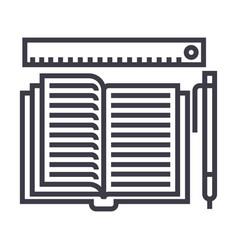 studyingopen book pen ruler line icon vector image