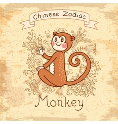Vintage card with Chinese zodiac - Monkey vector image vector image