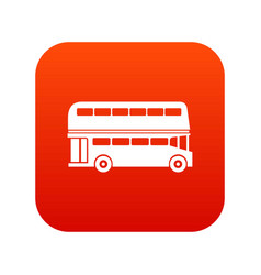 double decker bus icon digital red vector image