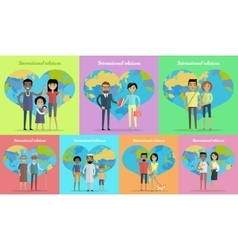 International Relations Banners Set vector image