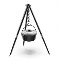 kettle for campfire on tripod vector image vector image