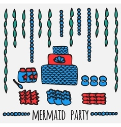 mermaid party elements underwater kids party vector image vector image
