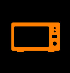 microwave sign orange icon on black vector image