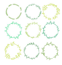 round frames with doodle plants and twigs vector image