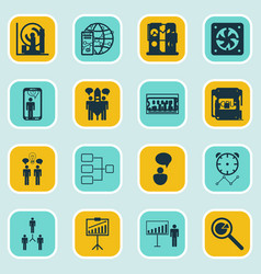 set of 16 executive icons includes planning vector image vector image