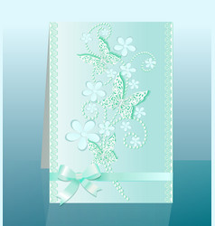 background card with flowers and bow delicate vector image vector image