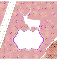 Christmas deer tempate card EPS 8 vector image vector image
