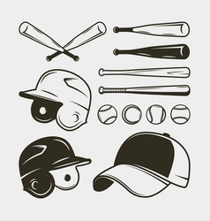 set of baseball equipment and gear bat helmet vector image