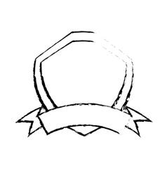 shield premium badge ribbon sketch vector image