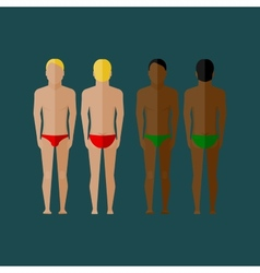with men body front and back view in flat style vector image