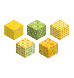 3d cubes with fruit backgrounds on each side vector image