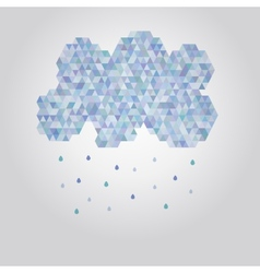 Abstract polygonal cloud with rain drops vector image