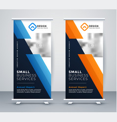 abstract rollup banner design in geometric style vector image