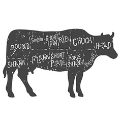 American cuts of beef vintage typographic vector
