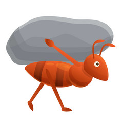 Ant carry stone icon cartoon style vector
