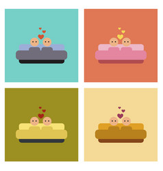 Assembly flat icons gay in bed vector