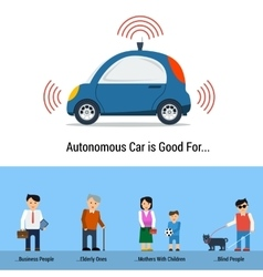 Autonomous car is good for different people vector