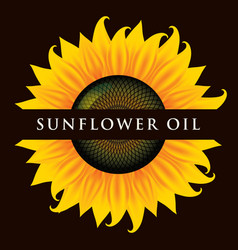 Banner for sunflower oil with inscription vector