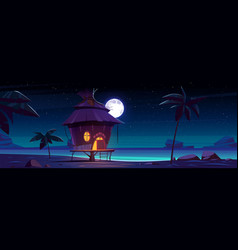 Beach hut or bungalow at night on tropical island vector
