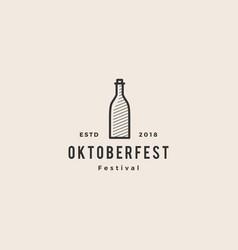 beer bottle oktoberfest festival logo hipster vector image