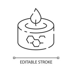 Beeswax candle linear icon vector