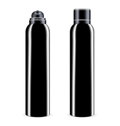Black aerosol spray metal bottle with lid vector
