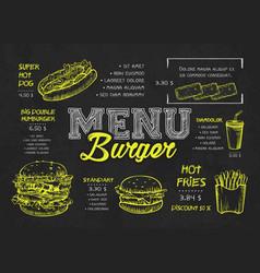 Burger menu poster design on chalkboard vector