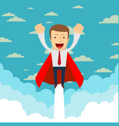 business hero or superhero flying through the vector image