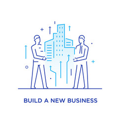 Businessmen build a city together cooperation vector