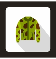 Camouflage hunting jacket icon flat style vector