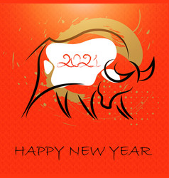 chinese new year 2021 card abstract ox bull cow vector image