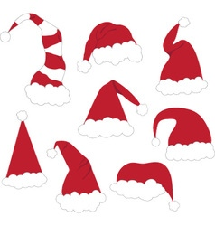 Christmas Santa Hats set vector image
