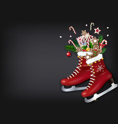 christmas skates with gifts on chalkboard vector image