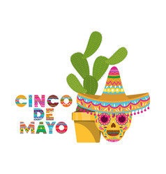 Cinco de mayo label with cactus and skull vector