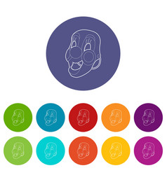 clown mask icons set color vector image