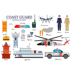 Coast guard day flat icoms set guarding the order vector