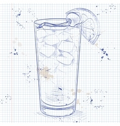 Cocktail Harvey Wallbanger on a notebook page vector image