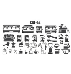 coffee machine icon mono symbol vector image