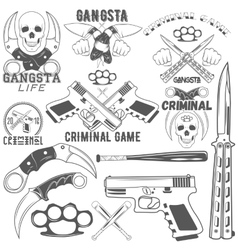 Collection gang and criminal logotypes vector