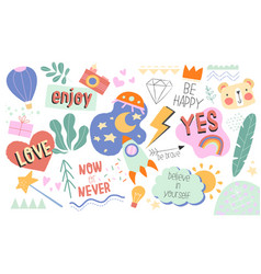 Collection positive inspirational doodles vector