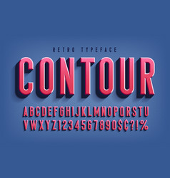 condensed 3d display font design alphabet vector image