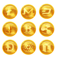 cripto currency logo coins monero dash litecoin vector image