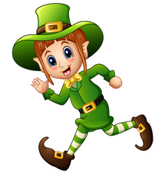 Cute cartoon girl leprechaun running vector