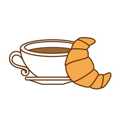 delicious cup coffee with croissant vector image