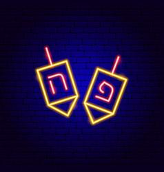 dreidel neon sign vector image