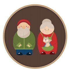 Elderly couple with a dog vector image