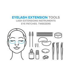 eyelash extension tools eye patches eyelashes vector image